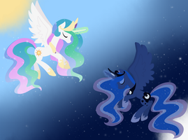 Luna Celestia Wallpaper by Otterlore