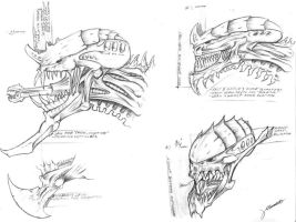 Tyranid Concept Heads by Pandinus0