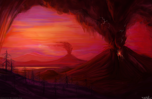 volcanic sunset by Zaleho