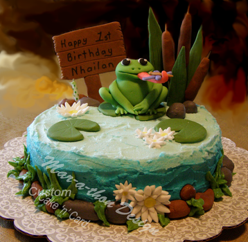 Frog in Pond Cake with watermark by Mar-a-thon