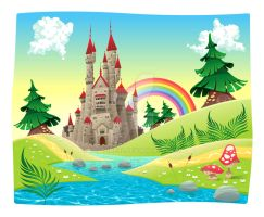 Panorama with castle. Cartoon vector illustration by neptune82