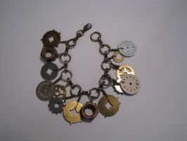 Steampunk Charm Bracelet with Vintage Watch Faces by bcainspirations
