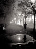 Foggy park and a running ghost by Husckarl