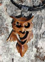 Asymmetric wooden owl pendant by JOVictory