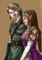 Link and Zelda by cyen