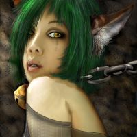 Green haired cat girl by Foux