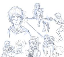 APH: Hogwarts bitches sketchdump by tenshiamanda