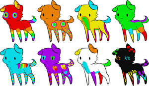 Rainbow Puppy Adoptables by Wolfies--Adopts