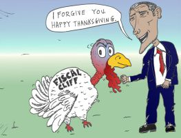 Thanksgiving turkey pardoned by Obama caricature by optionsclickblogart