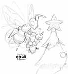 DailySketchDecember Day 1: Beedrill and Weedle by tjmoonstudios