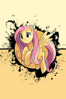 Fluttershy Splatter Circle iPod/iPhone Wallpaper by AlphaMuppet