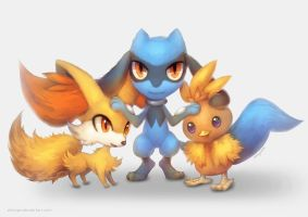 Riolu, Fennekin, and Torchic by eldrige