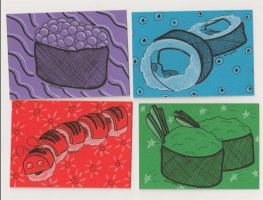 Sushi Art Cards Part 2 by the-punk-hippie
