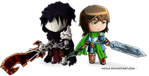 Hadezelios: Jiul and Faceless King Chibis by HenLP
