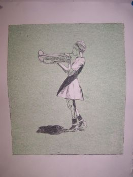 Trumpet Girl Ghost Print by mmmlewon