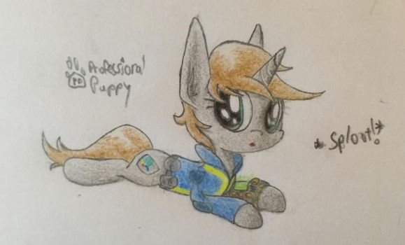 Littlepip Splooting by ProfessionalPuppy