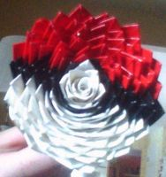 Pokeball Duct Tape Flower by RavenousWaffle