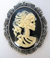 Skeleton Lady Cameo Brooch by industrial-hippie