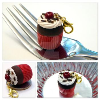 Black Forest Cupcake Charm Necklace by right2bearcharms