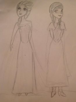 Elsa and Anna by Pencilpics123