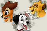 Bambi, Dalmatian and Simba by RavenEvert