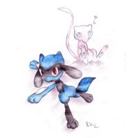Riolu and Mew by rahless
