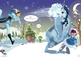 Freljord Ashe and Frostfire Annie: snowball fight by nfouque