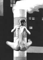 Woman Hugging a Smoke Stack by twiggzzler