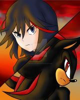 Ryuko Matoi and Shadow The Hedgehog by ShadowODark2012