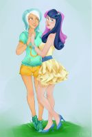 MLP: Lyra and Bonbon by Kayley