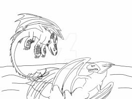 HTTYD-Wolf Paw and Coml Sparring sketch by ShardianofWhiteFire