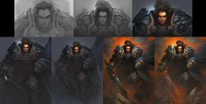 painting steps of King Varian by YanmoZhang