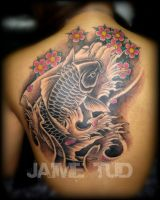 Cherry Blossoms and Koi by JaimeTudTattoos