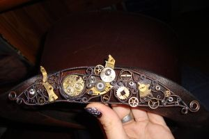 Steampunked Leather Hat by rain2shine