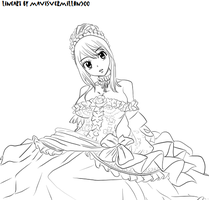 fairy tail lucy in a pink dress lineart *o* by mavisvermillon500
