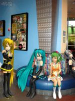Vocaloid Disney Vacation: Pop Century Lobby by TheKohakuDragon