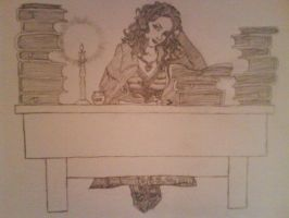 Marcia Overstrand at her desk by JennaMarieHeap