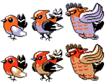 Fletchling Fletchinder Talonflame GSC Sprites by Axel-Comics