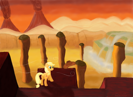 Applejack and The Edge of The World by TheQuezacotl