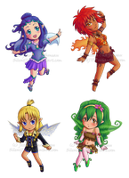 Elemental fairy chibis by SilentJ75