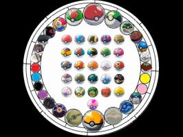 Kingdom Hearts stained glass: Pokeballs by VexenRandomDrawerGuy
