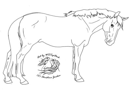 Standing Horse Lineart..dA use by WSTopDeck