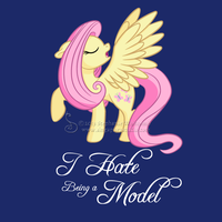 Model Shy (Fluttershy) T-shirt design by SingapuraStudio