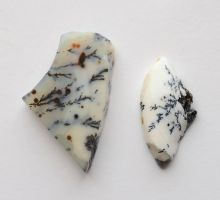 White Dendritic Agate cabochons 2 by lamorth-the-seeker