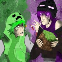 Enderman and creeper minecraft by Squishykitt