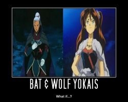 Bat and Wolf Yokais by Inukee
