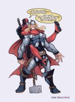Deadpool vs Thor by DaveJorel