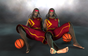 The Darius Twins with Braids, Headbands,  Basketba by joekr9