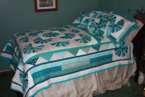 Fan Quilt With Pillows - Full View by Thy-Darkest-Hour