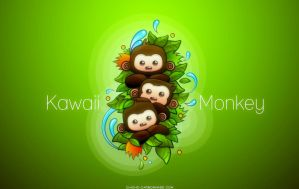 Kawaii Monkey Green by chicho21net